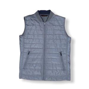Zara man light quilted zip up gray jacket vest, size Large
